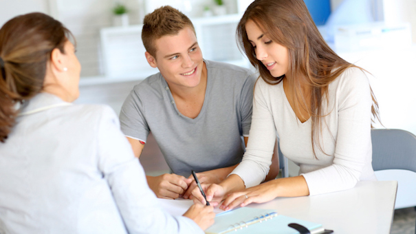 Young people buying house